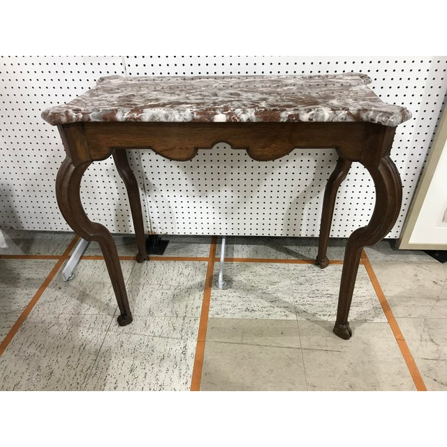 Portuguese Oak Marble Top Console Table - Image 6 of 6