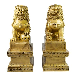 Chinese Golden Foo Dogs - A Pair