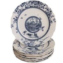 Antique Flow Blue Woodland Plates - Set of 10