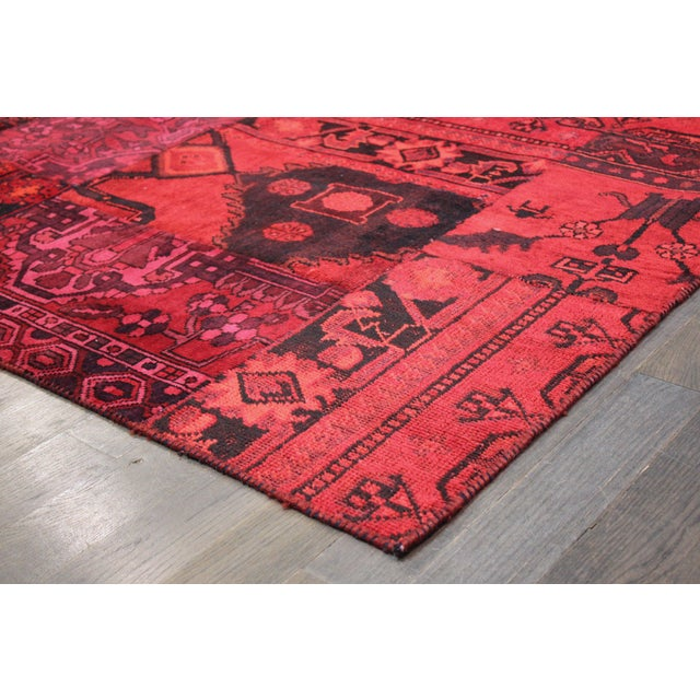 "Apadana - Red Patchwork Overdye Rug - 6'1"" x 9'1"" - Image 2 of 2"