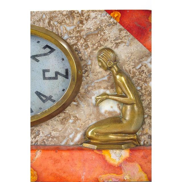 Art Deco Vintage Marble & Bronze Clock C.1930 - Image 3 of 9