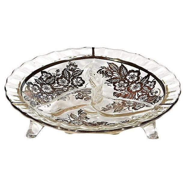 Glass Footed Silver Floral Bowl - Image 1 of 3