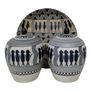 Ceramic Jars & Matching Plate, Set of 3