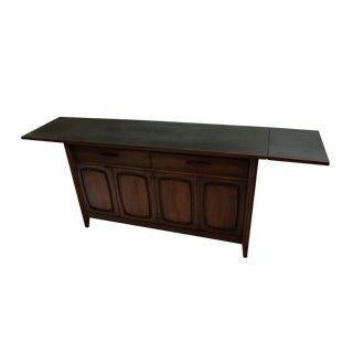 Broyhill Emphasis Mid-Century Sculpted Walnut Credenza Serving Cart