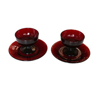French Arcoroc Dessert Cups & Saucers - a Pair