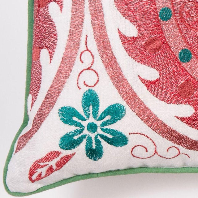 Red Embroidered Moroccan Pillow - Image 2 of 2