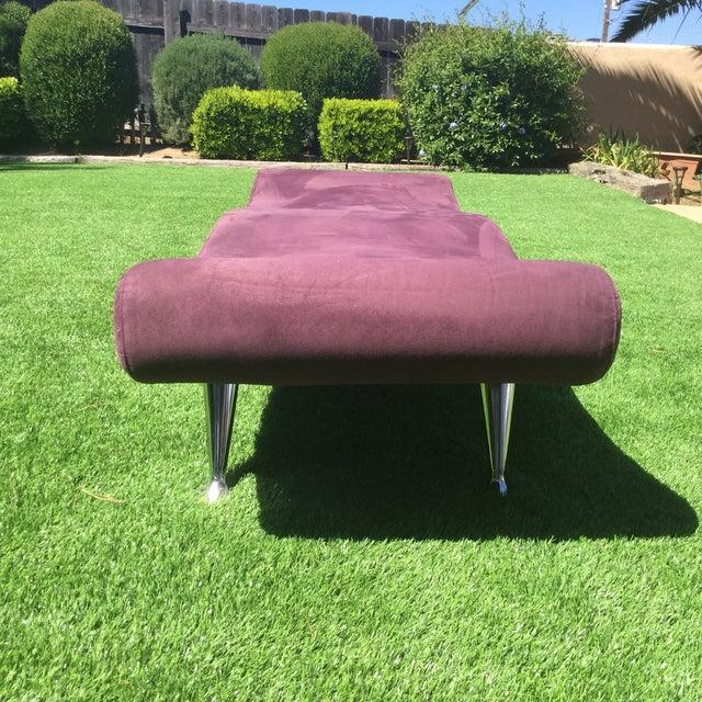 Custom Purple Mid Century Modern Bench - Image 2 of 3