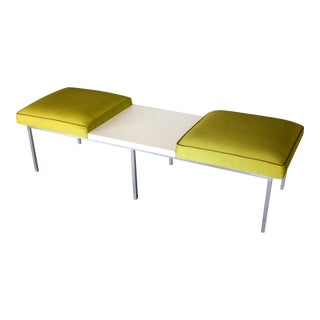 Mid Century Modern White & Green Bench