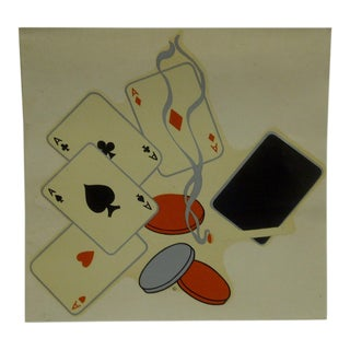 "Vintage 1930s Decal / Wall Decoration ""Poker Night"" the Meyercord Co. Chicago"