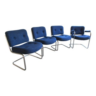 Upholstered Chrome Cantilever Dining Chairs- Set of 4