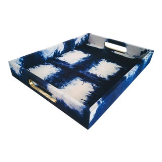 Indigo Shibori Fabric Wrapped Tray