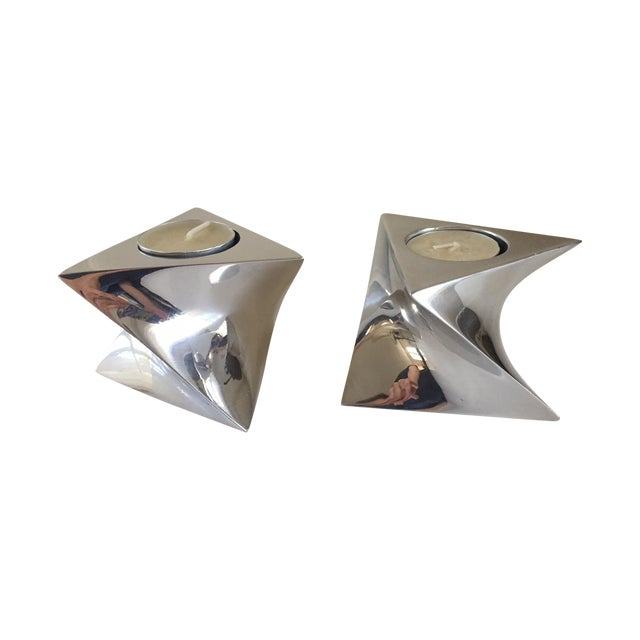 Nambe Spirit Candlestick Holders- A Pair - Image 1 of 3
