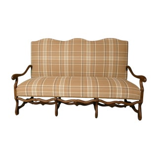 French Settee in Ralph Lauren Wool Plaid & Ostrich