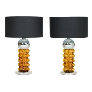 Pair of 1960s Chrome and Amber Glass Table Lamps