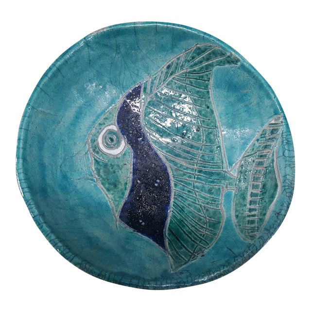 Fish Glazed Pottery Bowl - Image 1 of 3