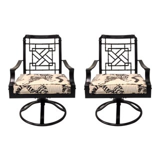 Chinese Chippendale Style Patio Chairs - A Pair