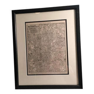 Vintage Map of Central Indiana Framed