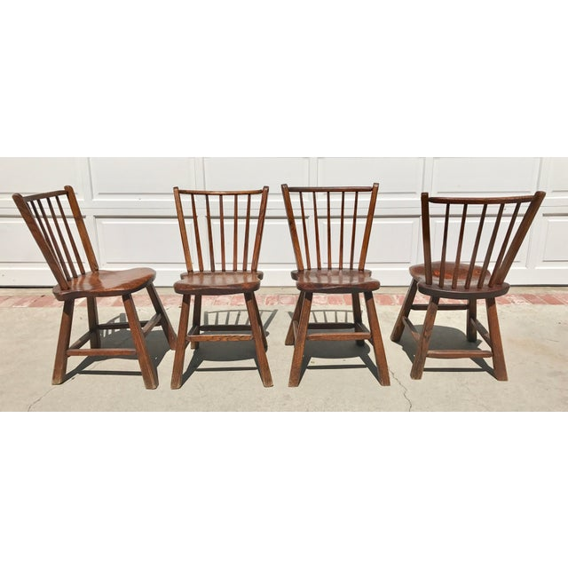 Primitive Wood Dining Chairs - Set of 4 - Image 3 of 4