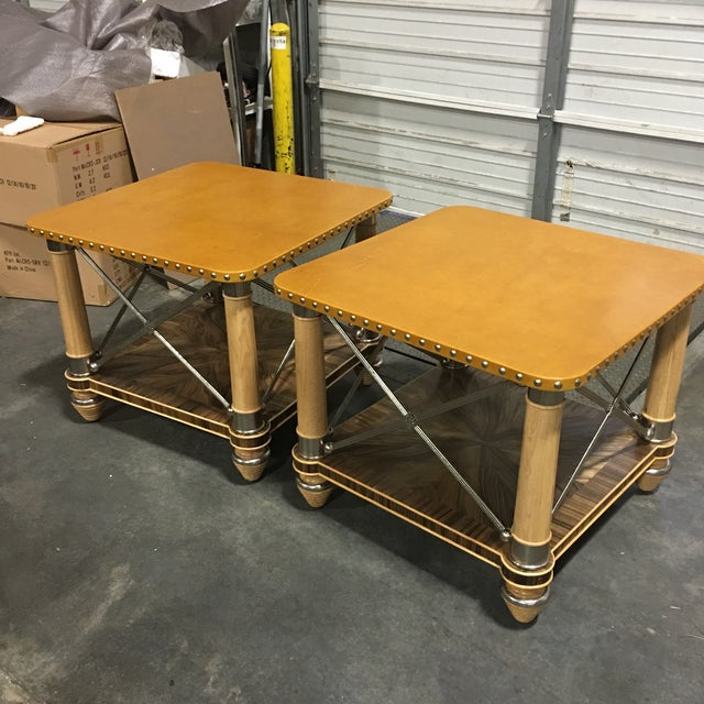 Ferguson-Copeland Leather Top Side Tables - A Pair - Image 2 of 6