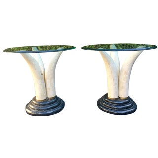 Faux Elephant Tusk Side Tables - a Pair Anthony Redmile Att.