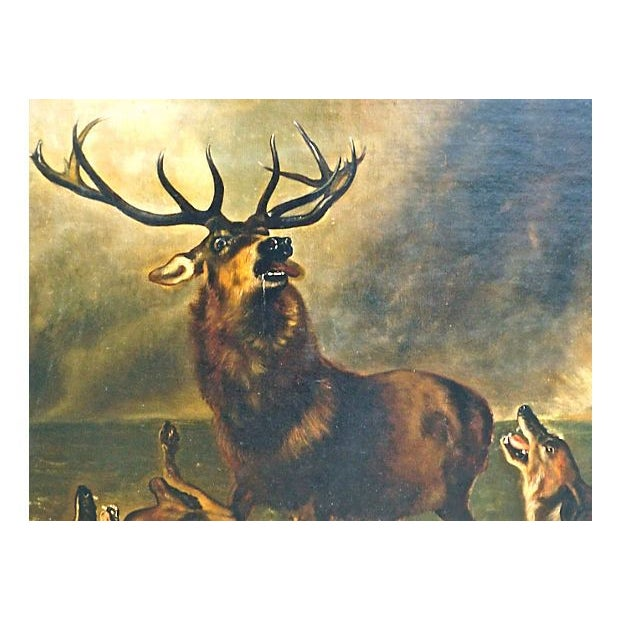1850 Antique English Stag Painting - Image 3 of 3