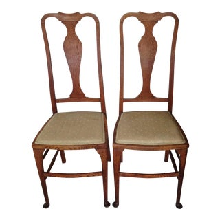 Antique Queen Anne Style Side Chairs - Pair