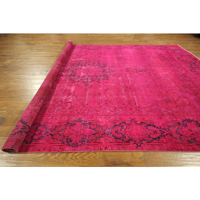 "Pink Overdyed Oriental Floral Rug - 9'6"" x 14'10"" - Image 10 of 10"