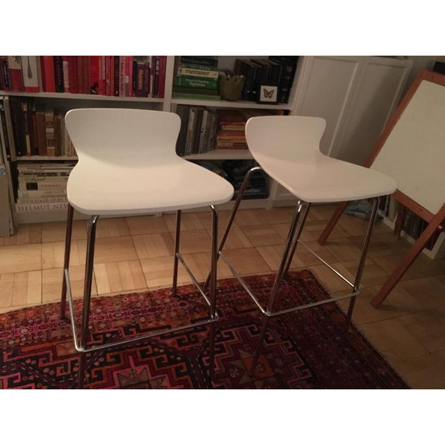 Crate & Barrel White & Chrome Bar Stools - A Pair - Image 7 of 7