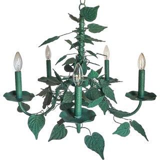 Green Verdigris Leaves Five-Arm Chandelier