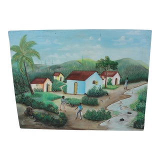 Vintage Haitian Painting of Village by Etienne Jonas