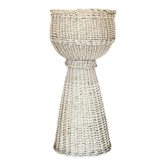 White Wicker Plant Stand - Image 1 of 6
