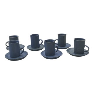 Mid-Century Modern Navy Blue Stoneware Expresso Mugs & Saucers