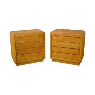 Rattan & Bamboo McGuire Style Pair of 4 Drawer Chests
