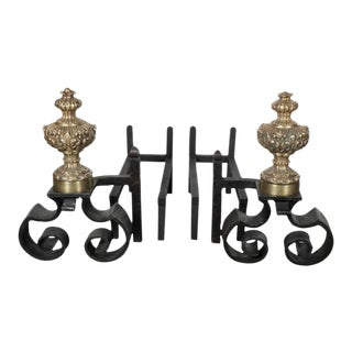 Pair of 18th Century Baroque Brass and Hand Forged Iron Chenets or Andirons