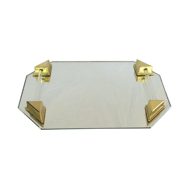 Image of Vanity Tray With Lucite and Faux Brass Handles