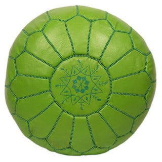 Embroidered Leather Pouf in Lime Green