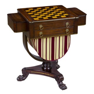 A Classical Brass Inlaid Mahogany Worktable with Inlaid Game Board, c. 1820-1830, ex. John Walton