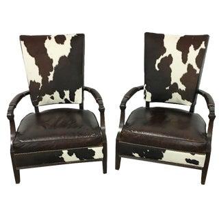 Henredon Dark Leather & Hide Chairs - A Pair