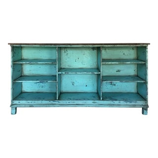 Primitive Distressed Turquoise Sideboard
