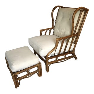 Vintage Rattan Wingback Chair & Ottoman - A Pair
