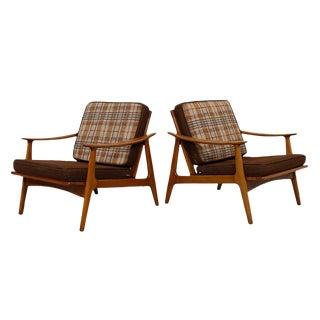 Swedish Modern Reversible Cushions Lounge Chairs - A Pair
