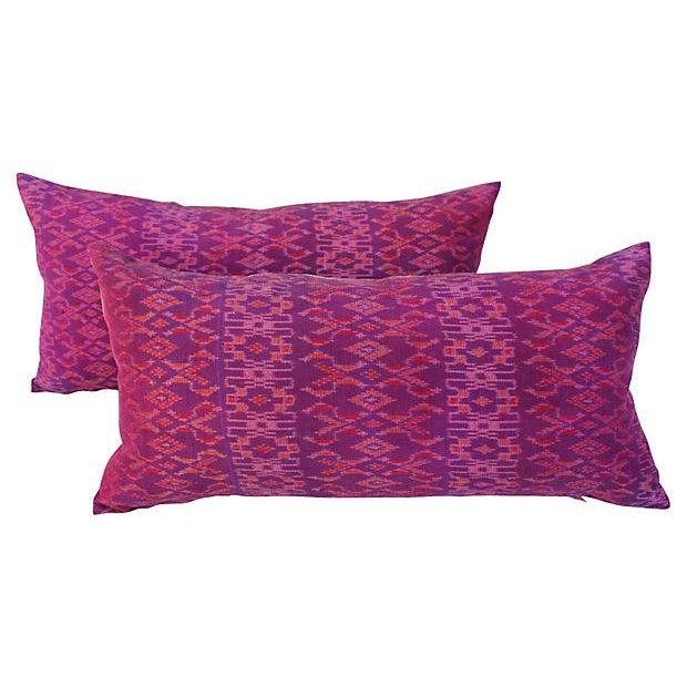 Thai Silk Ikat Pillows - Pair - Image 1 of 4