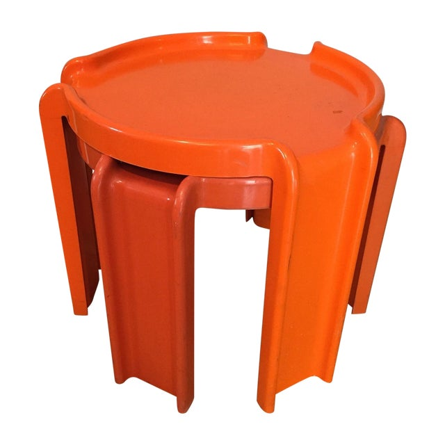 Kartell Orange Stacking Tables - A Pair - Image 1 of 6