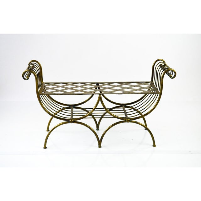 Hollywood Regency Italian Metal Bench, 1960's - Image 2 of 7