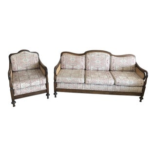 Antique Cane-Backed Sofa and Chair