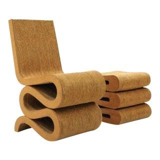Frank Gehry Cardboard Wiggle Chair & Ottoman/Stool