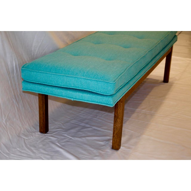 Mid-Century Tufted Turquoise Bench - Image 5 of 8
