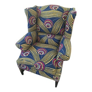 Anthropologie Wingback Chair in Bold Pattern
