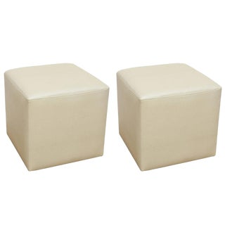 Ottomans in Faux Shagreen, Pair