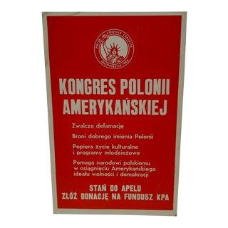 Vintage Polish American Congress Poster